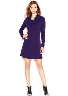 kensie Long-Sleeve Cowl-Neck Ponte-Knit Dress