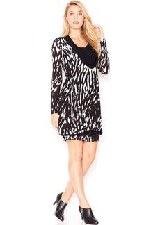 kensie Long-Sleeve Cowl-Neck Printed Dress