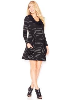 kensie Long-Sleeve Cowl-Neck Printed Dress (Only at Macy's)