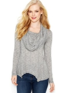 kensie Long-Sleeve Cowl-Neck Semi-Sheer Top