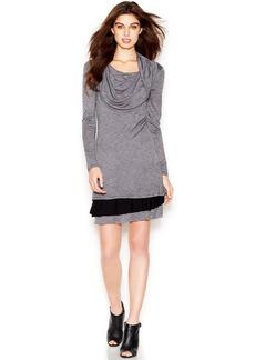kensie Long-Sleeve Cowl-Neck Striped Dress
