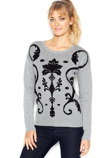 kensie Long-Sleeve Crew-Neck Damask-Knit Sweater (Only at Macy's)