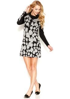 kensie Long-Sleeve Drawstring Cowl-Neck Dot-Print Dress