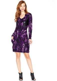 kensie Long-Sleeve Faux-Leather Paneled Dress