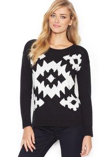 kensie Long-Sleeve Geometric-Knit Sweater