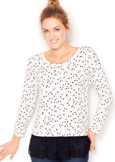 kensie Long-Sleeve Lace-Hem Layered-Look Top (Only at Macy's)