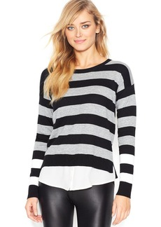 kensie Long-Sleeve Layered-Look Striped Sweater