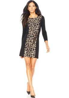 kensie Long-Sleeve Leopard-Print Paneled Dress (Only at Macy's)
