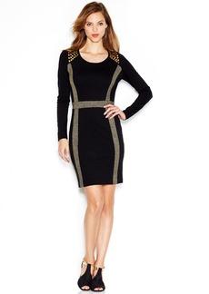 kensie Long-Sleeve Metallic-Flecked Studded Dress