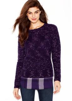 kensie Long-Sleeve Nep-Knit Layered-Look Sweater