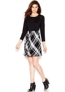 kensie Long-Sleeve Plaid-Print Dress