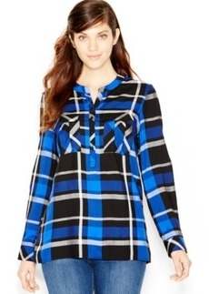 kensie Long-Sleeve Plaid Shirt