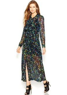 kensie Long-Sleeve Point-Collar Kaleidoscope-Print Maxi Dress