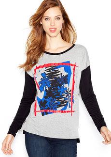 kensie Long-Sleeve Printed Colorblocked Top