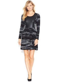 kensie Long-Sleeve Scoop-Neck Paneled Dress (Only at Macy's)