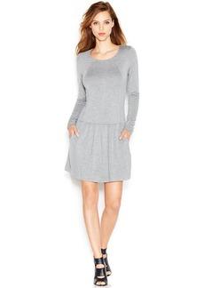 kensie Long-Sleeve Scoop-Neck Sweatshirt Dress