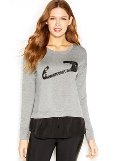 kensie Long-Sleeve Sequined Layered-Look Sweatshirt