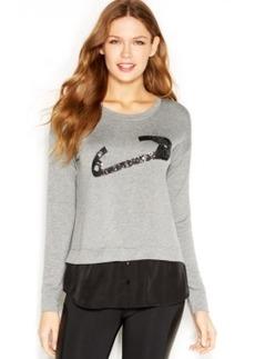 kensie Long-Sleeve Sequined Layered-Look Sweatshirt