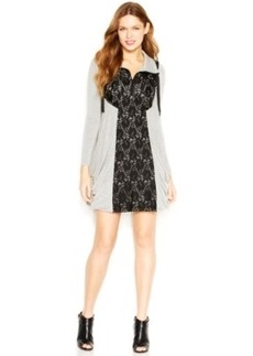 kensie Long-Sleeve Stand-Collar Lace-Overlay Dress