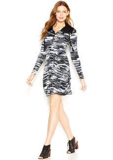 kensie Long-Sleeve Stand-Collar Printed Dress