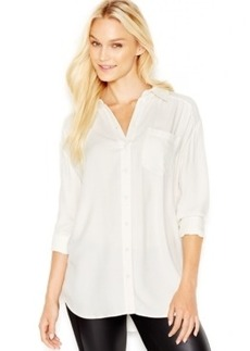 kensie Long-Sleeve Twill Tunic Shirt