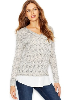 kensie Long-Sleeve V-Neck Printed Mixed-Media Sweater