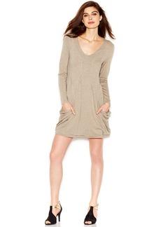 kensie Long-Sleeve V-Neck Sweatshirt Dress