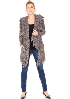 kensie Marled-Knit Fringed Cardigan