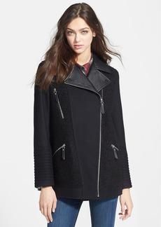 kensie Mixed Media Elongated Moto Jacket (Online Only)