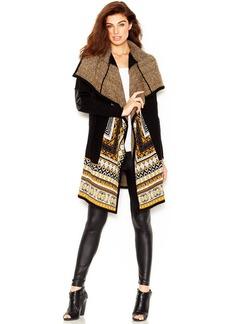 kensie Mixed-Media Fair Isle-Knit Cardigan