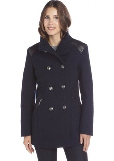 Kensie navy basketwoven double-breasted coat
