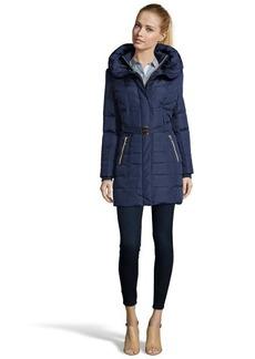 Kensie navy belted and hooded 3/4 down jacket