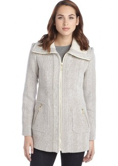 Kensie oatmeal wool blend herringbone print shaw collar coat