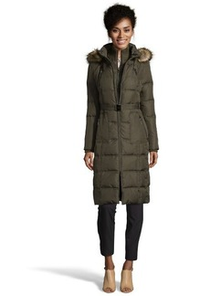 Kensie olive green quilted down filled three-quarter jacket