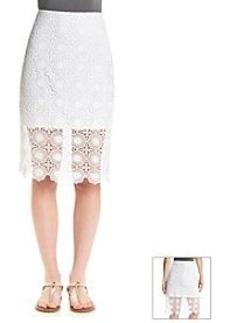 Kensie® Open Floral Lace Midi Skirt