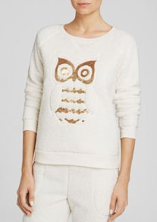 Kensie Owl Sequin Fleece Sweatshirt