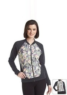 Kensie® Performance Printed Asymmetrical Bomber Jacket