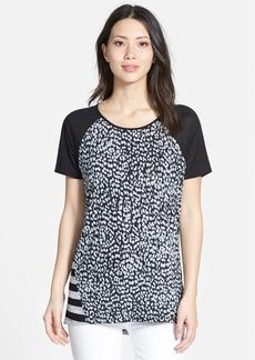 kensie Print Block Knit Top
