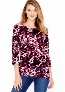kensie Printed Contrast-Panel Top