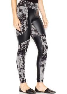 kensie Printed Faux-Leather-Panel Contrast Leggings