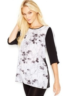 kensie Printed Tulip-Back Contrast Top