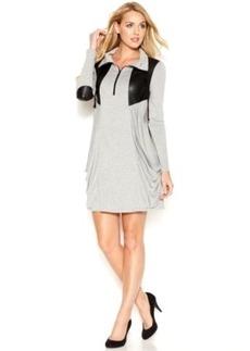 kensie Quarter-Zip Stand-Collar Mixed-Media Dress