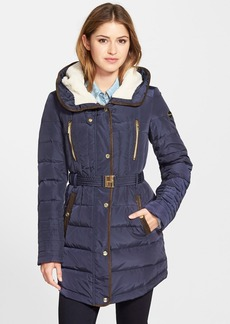 kensie Quilted Down & Feather Fill Jacket with Faux Shearling & Faux Suede Trim