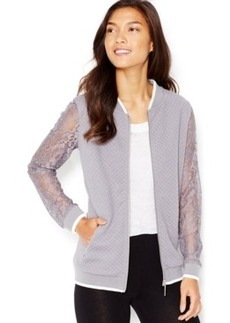 kensie Quilted Lace-Sleeve Bomber Jacket