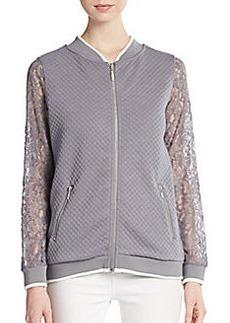 Kensie Quilted Lace-Sleeve Jacket