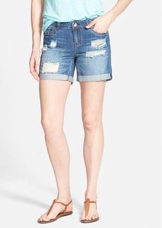 kensie 'Rip & Repair' Distressed Denim Roll Cuff Shorts