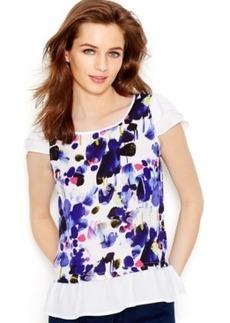 kensie Ruffled Floral-Print Blouse