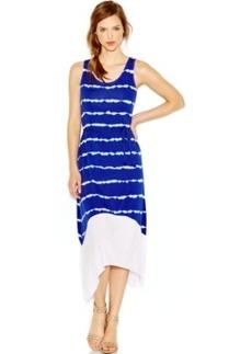 kensie Scoop-Neck Tie-Dye Maxi Dress