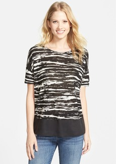 kensie 'Scratched Stripes' Mixed Media Top