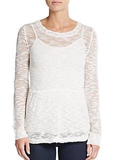 Kensie Sheer Peplum Pullover